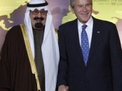 U.S. President George W. Bush greets Saudi Arabia's King Abdullah as he arrives at the G20 Summit in Washington